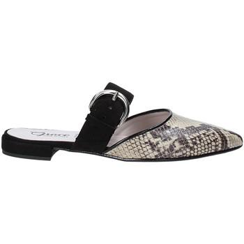 Schuhe Damen Leinen-Pantoletten mit gefloch Grace Shoes 521008 Schwarz
