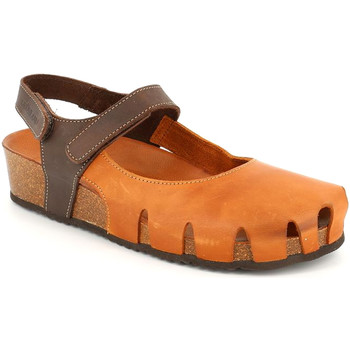 Schuhe Damen Leinen-Pantoletten mit gefloch Grunland SB1260 Braun
