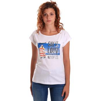 Kleidung Damen T-Shirts Key Up 5D72S 0001 Weiß