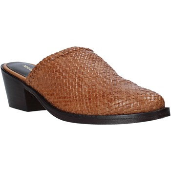 Schuhe Damen Leinen-Pantoletten mit gefloch Marco Ferretti 161401MF Braun