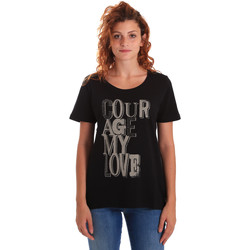 Kleidung Damen T-Shirts Key Up 5Z19S 0001 Schwarz