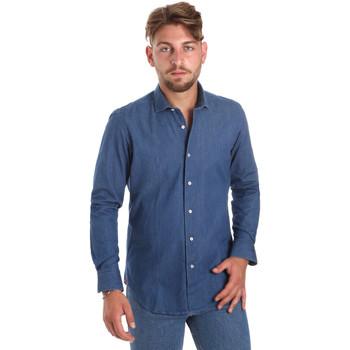Kleidung Herren Langärmelige Hemden Betwoin DENIM78 6635535 Blau