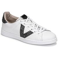 Schuhe Damen Sneaker Low Victoria TENIS PIEL GLITTER Weiss / Schwarz