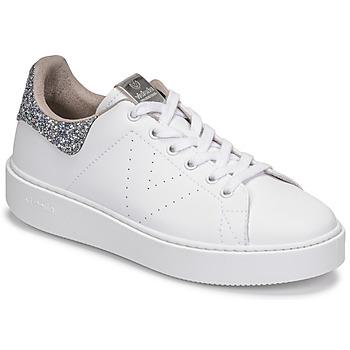 Schuhe Damen Sneaker Low Victoria UTOPIA GLITTER Weiss / Silbern