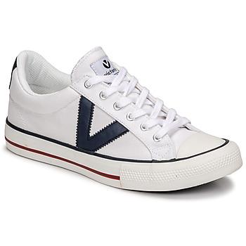 Schuhe Sneaker Low Victoria TRIBU LONA CONTRASTE Weiss / Blau