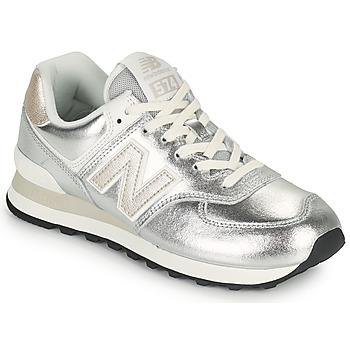 Schuhe Damen Sneaker Low New Balance 574 Silbern