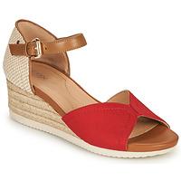Schuhe Damen Sandalen / Sandaletten Geox D ISCHIA CORDA D Rot / Cognac