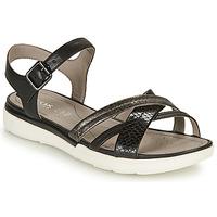 Schuhe Damen Sandalen / Sandaletten Geox D SANDAL HIVER A Schwarz / Silbern