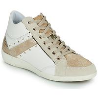 Schuhe Damen Sneaker High Geox D MYRIA G Weiss / Beige
