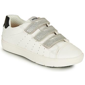 Schuhe Mädchen Sneaker Low Geox J SILENEX GIRL B Weiss / Silbern / Schwarz