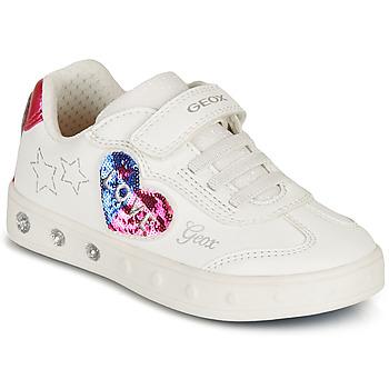 Schuhe Mädchen Sneaker Low Geox SKYLIN GIRL Weiss / Schwarz / Rose