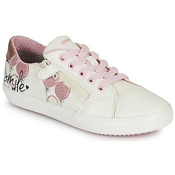 Schuhe Mädchen Sneaker Low Geox GISLI GIRL Weiss / Rose