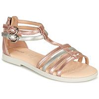 Schuhe Mädchen Sandalen / Sandaletten Geox J SANDAL KARLY GIRL Rose / Silbern