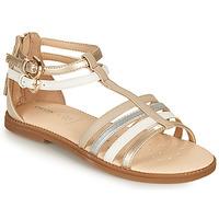 Schuhe Mädchen Sandalen / Sandaletten Geox J SANDAL KARLY GIRL Beige / Silbern / Weiss
