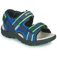 Schuhe Jungen Sportliche Sandalen Geox JR SANDAL STRADA Blau / Grün