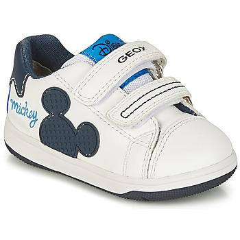 Schuhe Jungen Sneaker Low Geox B NEW FLICK BOY A Weiss / Blau