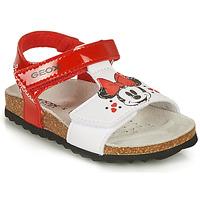 Schuhe Mädchen Sandalen / Sandaletten Geox SANDAL CHALKI GIRL Rot / Weiss