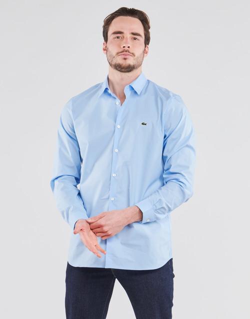Kleidung Herren Langärmelige Hemden Lacoste PITTA Blau