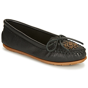 Schuhe Damen Slipper Minnetonka DEERSKIN BEADED MOC Schwarz