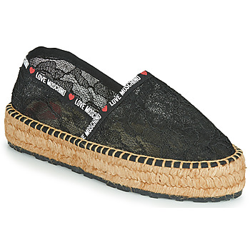 Schuhe Damen Leinen-Pantoletten mit gefloch Love Moschino JA10373G1C Schwarz
