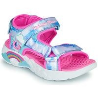 Schuhe Mädchen Sportliche Sandalen Skechers RAINBOW RACER Silbern / Rose