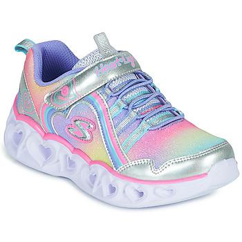 Schuhe Mädchen Sneaker Low Skechers HEART LIGHTS RAINBOW LUX Silbern / Rose