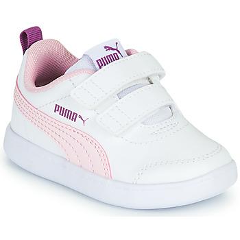 Schuhe Mädchen Sneaker Low Puma COURTFLEX INF Weiss / Rose