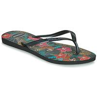 Schuhe Damen Zehensandalen Havaianas SLIM TROPICAL Schwarz / Grau
