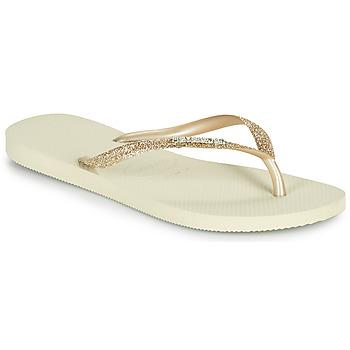 Schuhe Damen Zehensandalen Havaianas SLIM GLITTER II Beige