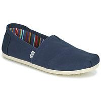 Schuhe Herren Leinen-Pantoletten mit gefloch Toms CORE Blau