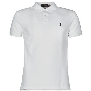 Kleidung Herren Polohemden Polo Ralph Lauren POLO CINTRE SLIM FIT EN COTON BASIC MESH LOGO PONY PLAYER Weiss