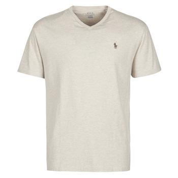 Kleidung Herren T-Shirts Polo Ralph Lauren T-SHIRT AJUSTE COL V EN COTON LOGO PONY PLAYER Beige