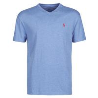 Kleidung Herren T-Shirts Polo Ralph Lauren T-SHIRT AJUSTE COL V EN COTON LOGO PONY PLAYER Blau