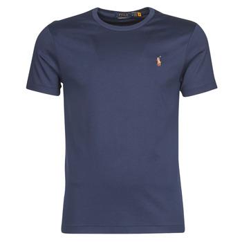 Kleidung Herren T-Shirts Polo Ralph Lauren T-SHIRT AJUSTE COL ROND EN PIMA COTON LOGO PONY PLAYER MULTICOLO Blau