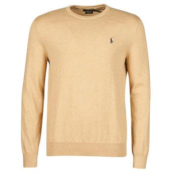 Kleidung Herren Pullover Polo Ralph Lauren PULL COL ROND AJUSTE EN COTON PIMA LOGO PONY PLAYER Camel