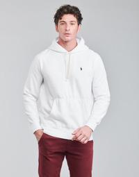 Kleidung Herren Sweatshirts Polo Ralph Lauren SWEAT A CAPUCHE MOLTONE EN COTON LOGO PONY PLAYER Weiss