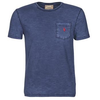 Kleidung Herren T-Shirts Polo Ralph Lauren T-SHIRT AJUSTE COL ROND EN COTON LOGO PONY PLAYER Blau