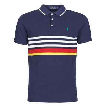 Kleidung Herren Polohemden Polo Ralph Lauren POLO AJUSTE DROIT RAYE AVEC DETAILS DE COL ET DETAILS MANCHES EN Marine