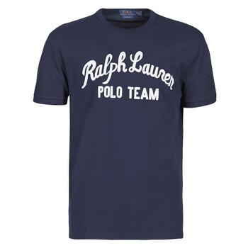 Kleidung Herren T-Shirts Polo Ralph Lauren T-SHIRT COL ROND EN COTON AVEC POLO RALPH LAUREN SIGNATURE Marine