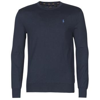 Kleidung Herren Pullover Polo Ralph Lauren PULL COL ROND AJUSTE EN COTON PIMA LOGO PONY PLAYER Blau