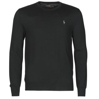 Kleidung Herren Pullover Polo Ralph Lauren PULL COL ROND AJUSTE EN COTON PIMA LOGO PONY PLAYER Schwarz