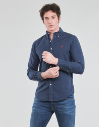 Kleidung Herren Langärmelige Hemden Polo Ralph Lauren CHEMISE CINTREE SLIM FIT EN OXFORD LEGER TYPE CHINO COL BOUTONNE Marine
