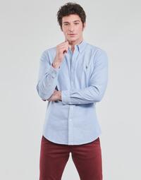 Kleidung Herren Langärmelige Hemden Polo Ralph Lauren CHEMISE AJUSTEE EN OXFORD COL BOUTONNE  LOGO PONY PLAYER MULTICO Blau