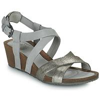 Schuhe Damen Sandalen / Sandaletten Teva MAHONIA WEDGE CROSS STRAP ML Grau / Mettalfarben