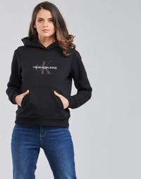 Kleidung Damen Sweatshirts Calvin Klein Jeans REFLECTIVE MONOGRAM HOODIE Schwarz