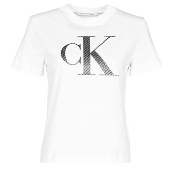Kleidung Damen T-Shirts Calvin Klein Jeans SATIN BONDED FILLED CK TEE Weiss