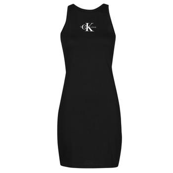 Kleidung Damen Kurze Kleider Calvin Klein Jeans MONOGRAM TANK DRESS Schwarz