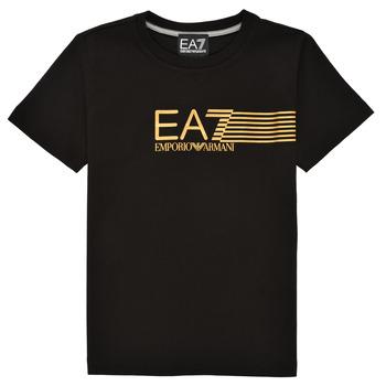 Kleidung Jungen T-Shirts Emporio Armani EA7 3KBT54-BJ02Z-1200 Schwarz / Gold