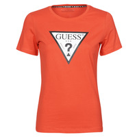 Kleidung Damen T-Shirts Guess SS CN ORIGINAL TEE Rot