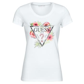 Kleidung Damen T-Shirts Guess SS CN REBECCA TEE Weiss / Multicolor